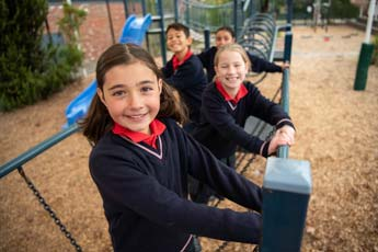 Students in playground at St Fidelis Coburg Primary School